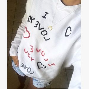 Kenzo I Love You Embroidered Cotton Jumper Sweater
